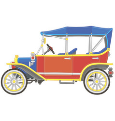 Old toy vintage car brightly colored vector