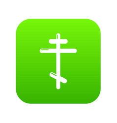 orthodox cross icon green vector image