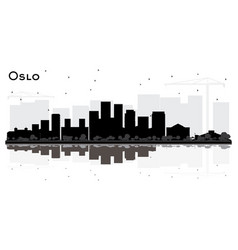 oslo norway city skyline silhouette with black vector image