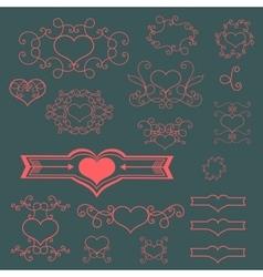 Pink floral elements vector image