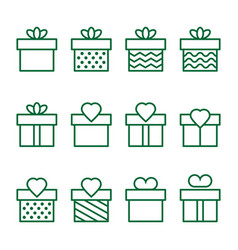 present green icons on background vector image