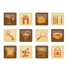 real estate icons over brown background vector image