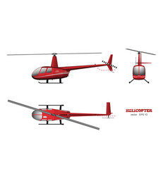 Red helicopter top front and side view vector