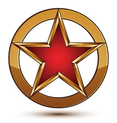 Refined red star emblem with golden borders 3d vector