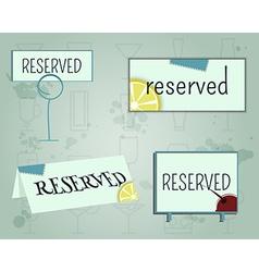 Reservation sign mock up template Summer cocktail vector image