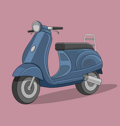retro cartoon scooter flat style vector image