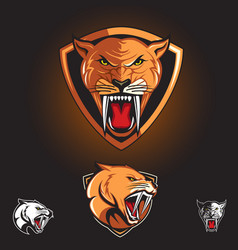 saber tooth cat smilodon logo vector image