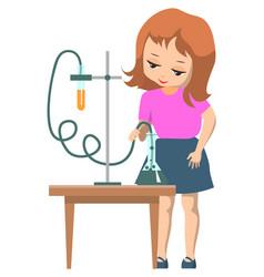 Schoolgirl in science school club doing experiment vector