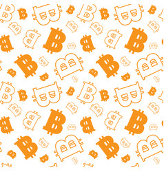 seamless pattern with bitcoins signs on white vector image