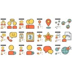 Social media line icon set vector