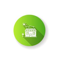 Solar batteries green flat design long shadow vector