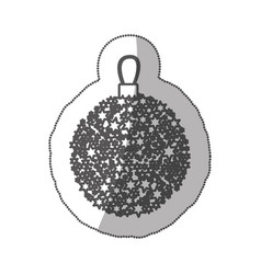 Sticker monochrome silhouette christmas wreath of vector