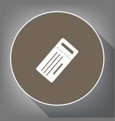 ticket simple sign white icon on brown vector image