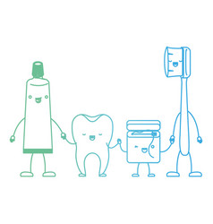 Tooth and toothpaste and dental floss and vector