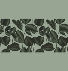 Tropical plant seamless pattern philodendron silk vector