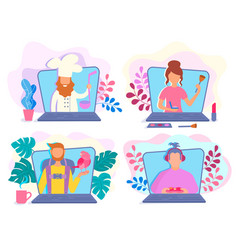 video bloggers on the laptop screen present vector image