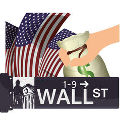 Wall street new york usa economy vector