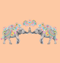 watercolor elephant vector image