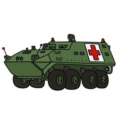 Wheeler armoured military ambulance vehicle vector