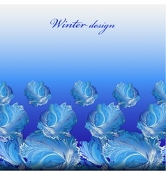 Winter frozen glass background Blue hoarfrost vector