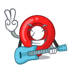 with guitar map pointer navigation pin mascot vector image