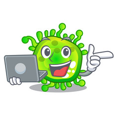 With laptop character microbe bacterium on the vector