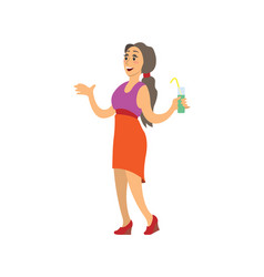 woman holding cocktail in evening dress vector image