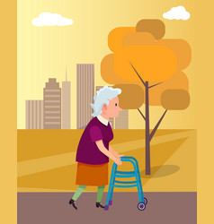Woman move with walkers help vector