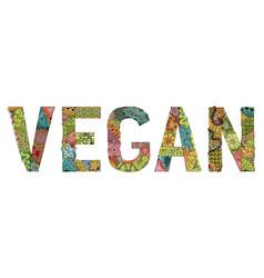 word vegan decorative zentangle object vector image