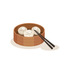 Xiao long bao or steamed dumplings in wooden vector