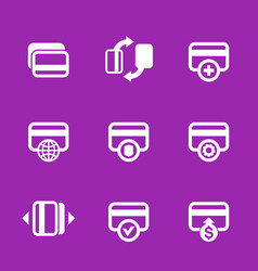 Credit cards icons set for internet banking app vector