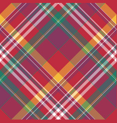 Diagonal red check plaid seamless fabric texture vector