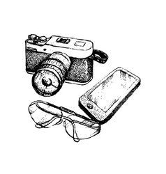 Hand drawn camera and glasses with smart phone vector