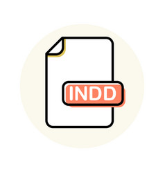 indd file format extension color line icon vector image
