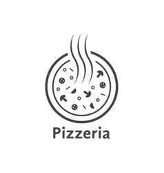 simple outline pizzeria logo vector image vector image
