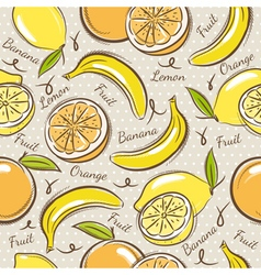 Background with bananas oranges and lemons vector image