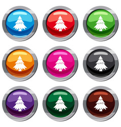 coniferous tree set 9 collection vector image