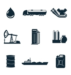 set of gasoline filling station with fuel tankers vector image