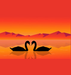 silhouette of swan with mountain background vector image