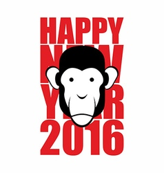 Happy new year 2016 Year of monkey Animal on vector image