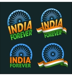 India forever four badges independence day on dark vector image
