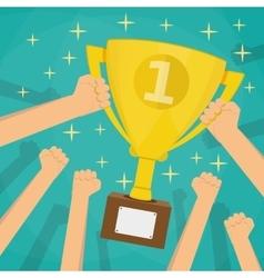 Soccer football gold trophy for winner vector image