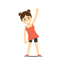 sporty girl in sportswear doing fitness exercise vector image vector image