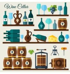 Wine cellar icons vector image