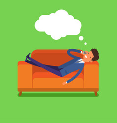 businessman lying on the couch vector image vector image