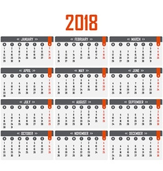 Calendar for 2018 Week starts on Monday vector image vector image