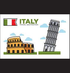 italy culture symbols or italian travel famous vector image