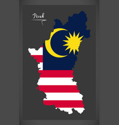 perak malaysia map with malaysian national flag vector image vector image