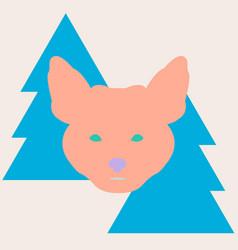 stylish fox head between christmas trees vector image
