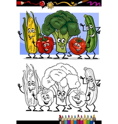 vegetables comic group for coloring book vector image vector image